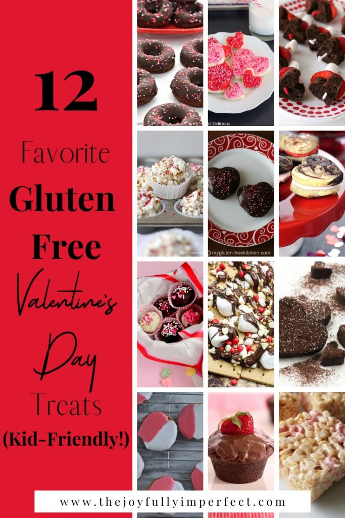 Collage of images of 12 valentine's day desserts with text reading 12 Favorite Kid-Friendly Gluten Free Valentine's Day Treats
