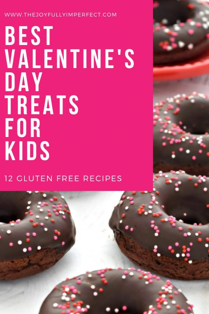 Chocolate iced doughnuts with sprinkles and text reading Best Gluten Free Valentine's Day Treats for Kids