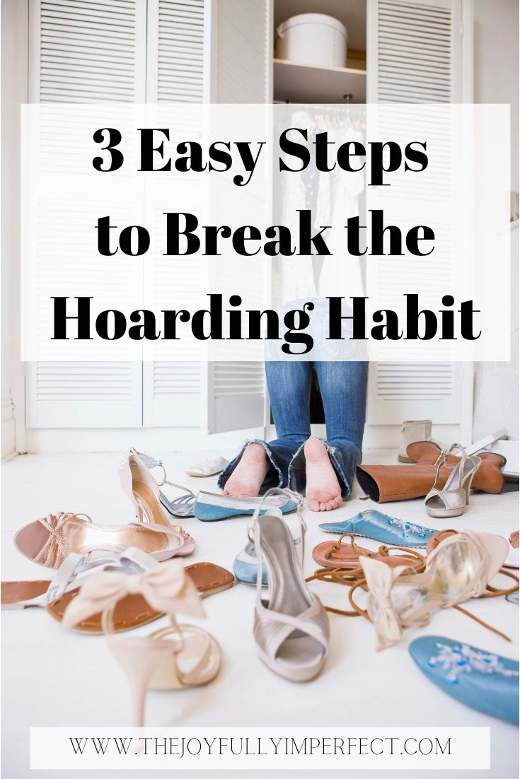 Woman cleaning clutter out of her closet with shoes everywhere for post how to stop hoarding in 3 easy steps