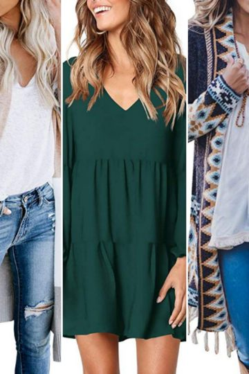 Gallery of three different women's clothing options for post 36 MORE Amazon Fashion Finds for Fall and Winter