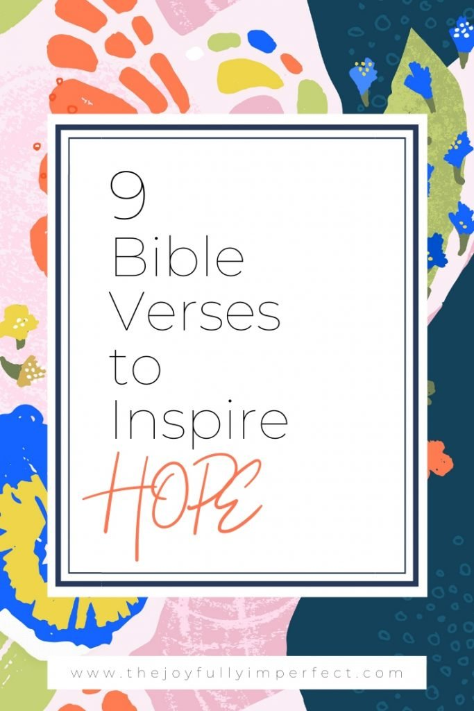 Colorful graphic with text reading Bible Verses to Inspire HOPE