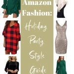 collage of holiday dresses and party outfits with text reading amazon fashion holiday party style guide