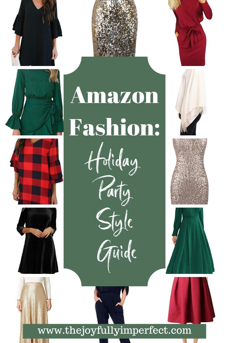 Collage of different holiday dresses and party outfits with text reading amazon fashion holiday party style guide