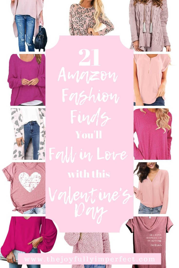 collage of amazon fashion finds for women for post about valentine's day clothes
