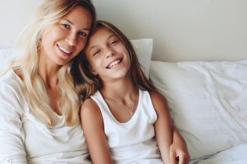 Mom and daughter snuggling with text reading how to study the Bible with your kids for post Simplifying Bible Study with Kids: How to Actually Get Started