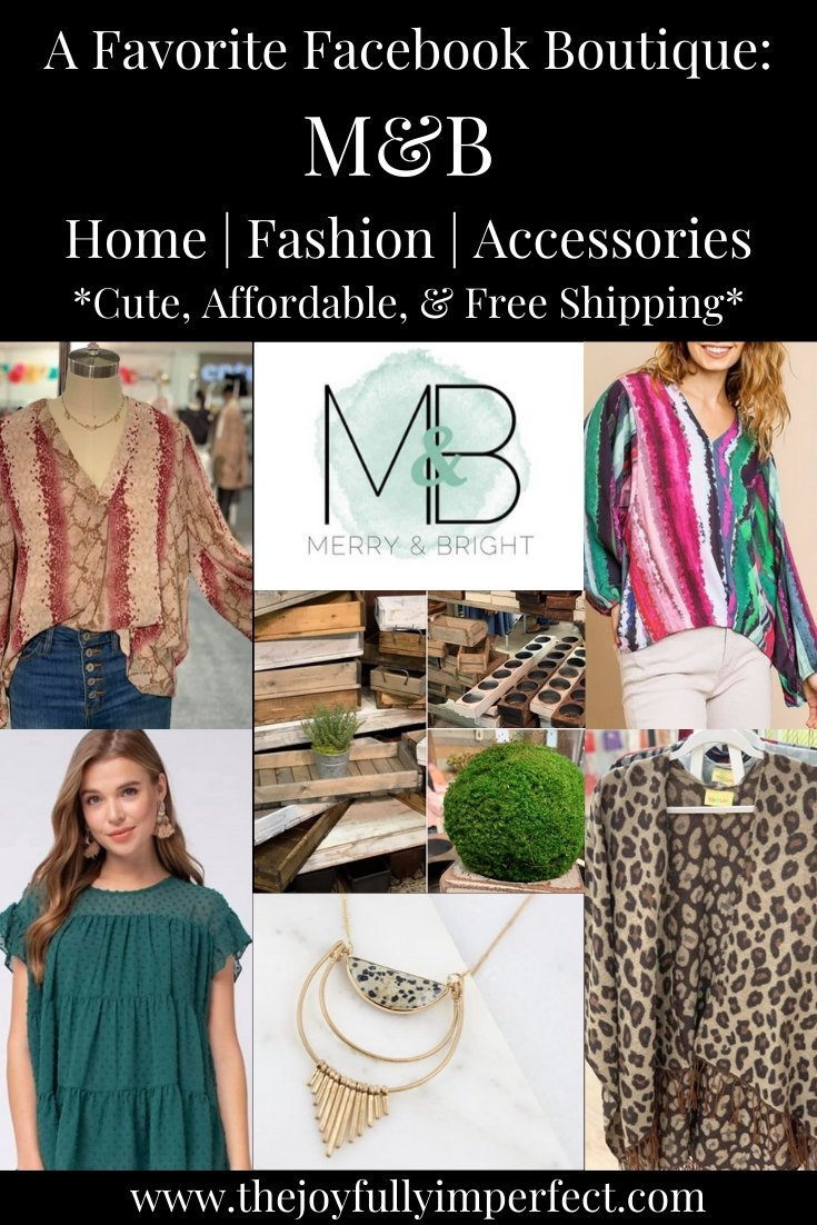 collage of clothing and home decor items from merry and bright for post about online boutiques