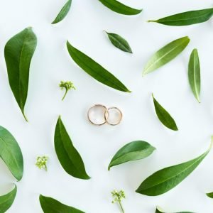 Wedding rings on white background with leaves for post have you accidentally kissed your marriage goodbye?