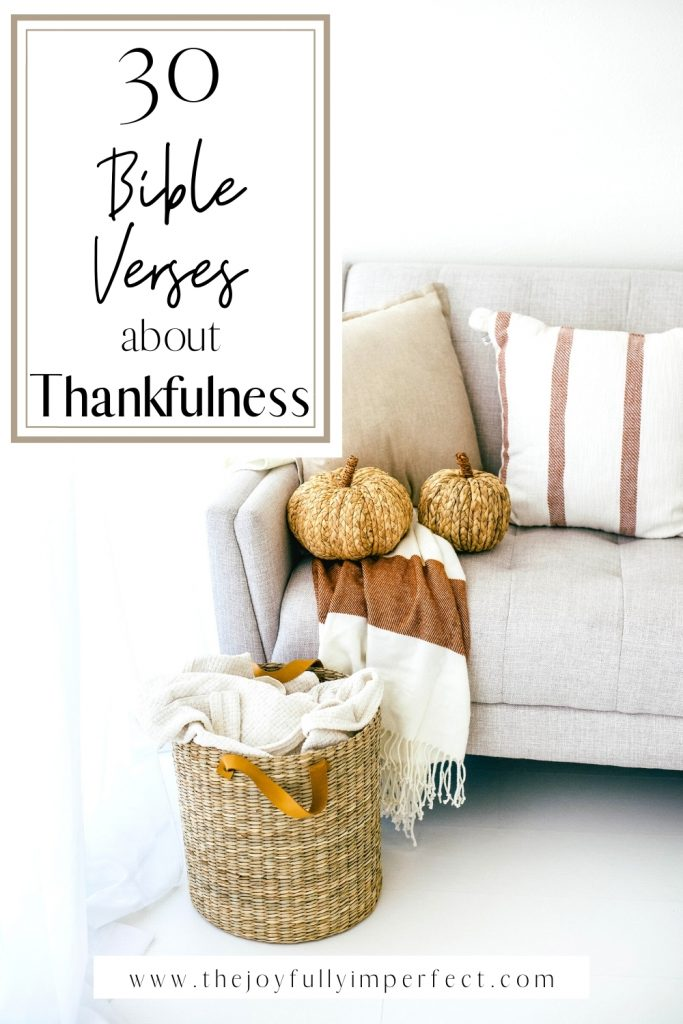 Woven pumpkins on sofa with fall pillows and throw blankets for post 30 Bible Verses about Thankfulness