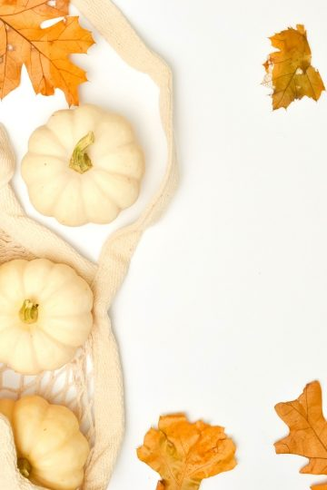 Mini white pumpkins and fall leaves for post 30 Bible verses about thankfulness plus free printable